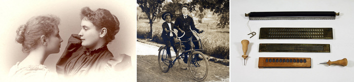 Three images: Helen Keller and Anne Sullivan portrait, 1896, Tommy Stringer and Joseph Rodgrigo, riding a sociable tricycle, 1901, and a collection of braille pocket slates with two styli.
